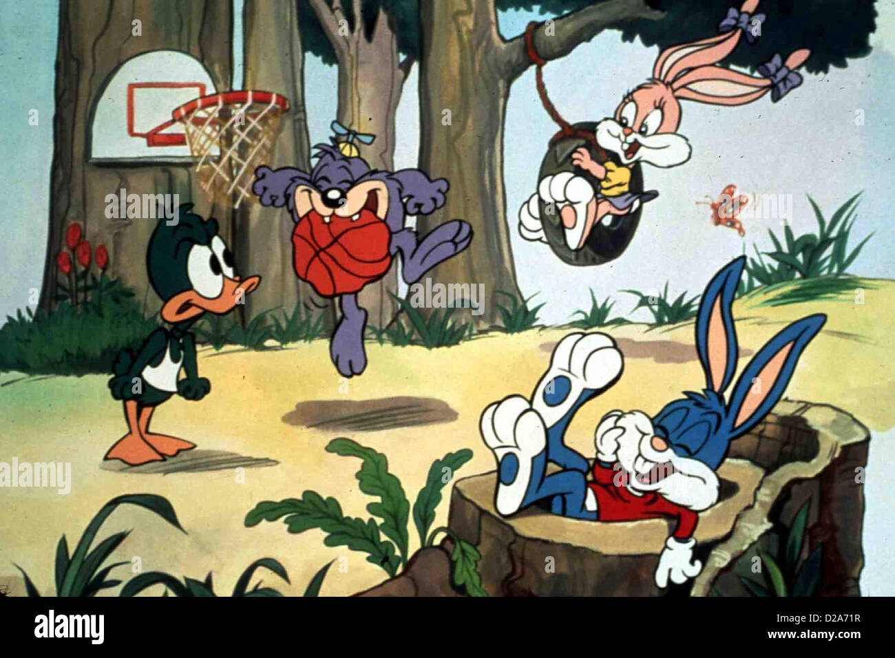Tiny Toons Abenteuer - Total Verrückte Ferien Tiny Toon Adventures Plucky Duck,?, Babs Bunny Und Buster Bunny Stockbild