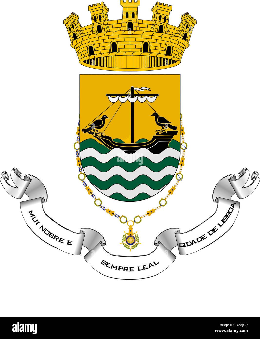 Wappen der portugiesischen Hauptstadt Lissabon. Stockfoto