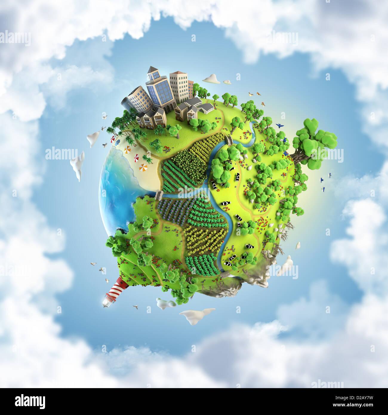 Globus-Konzept zeigt einen grünen, ruhigen und idyllischen Lebensstil in der Welt im Cartoon-Stil Stockbild