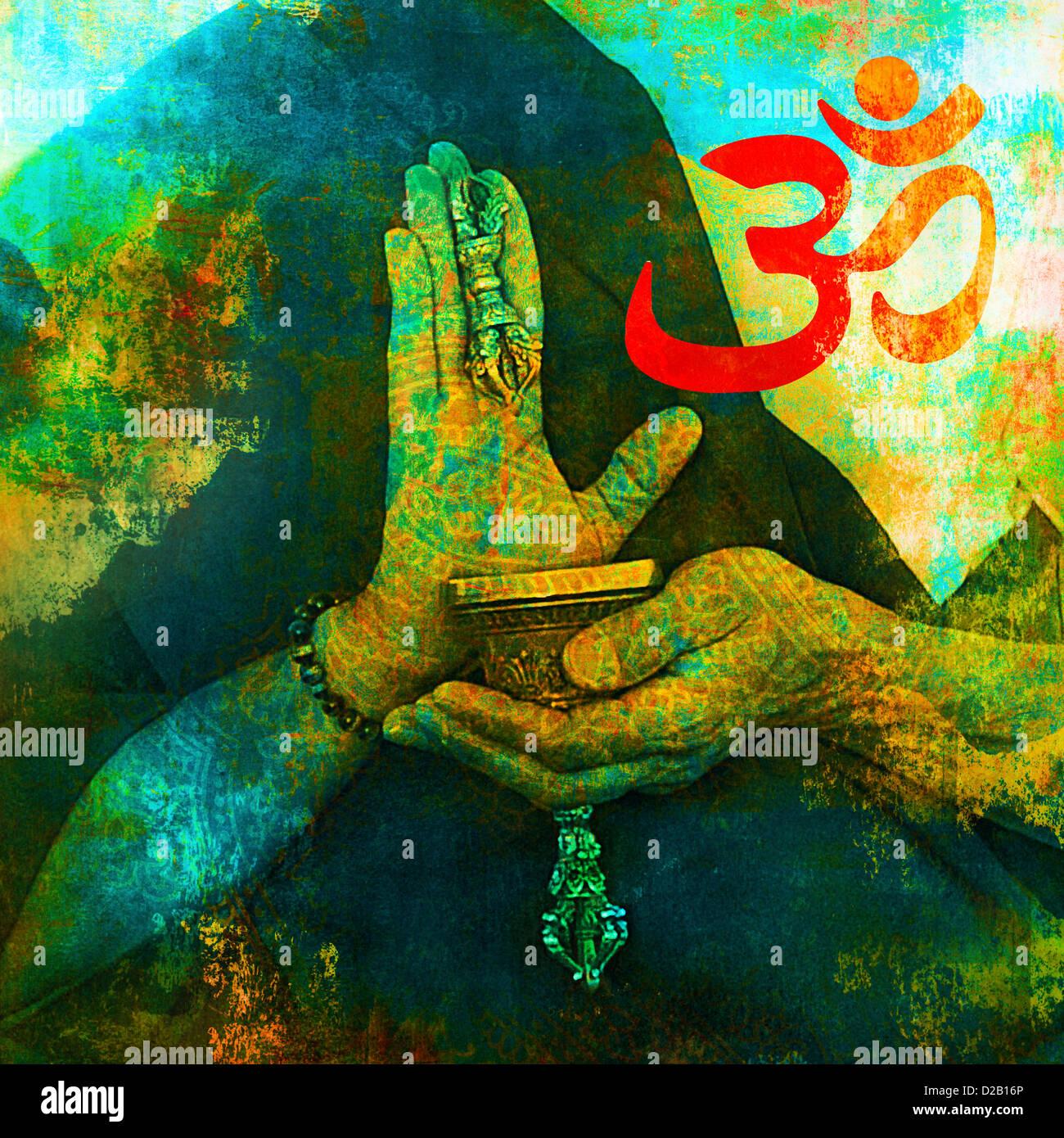 Om Zeichen mit buddhistischen Händen. Stockbild