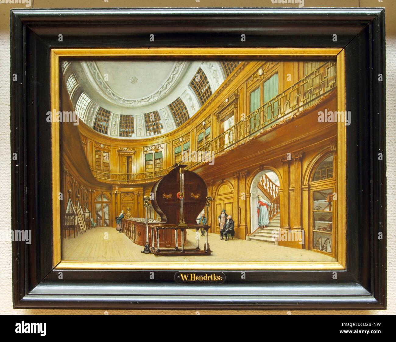 Wybrand Hendriks (1744-1831), ovalen Innenraum in Teyler Museum, Öl auf Holz Stockbild
