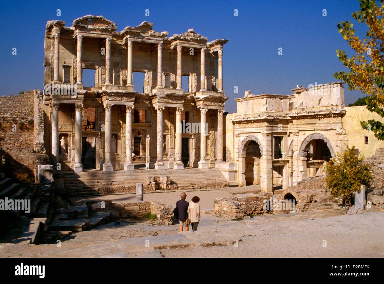 Türkei, Ephesus. Celsus-Bibliothek (abgeschlossene Ad 135) Stockbild