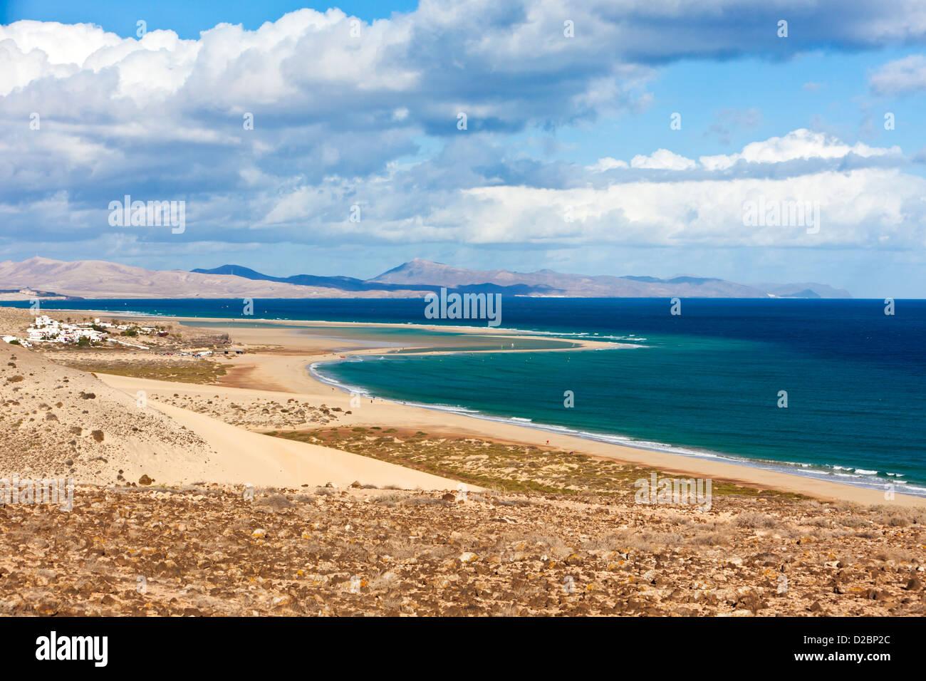 Playa Barca an der südöstlichen Küste von Fuerteventura Stockbild