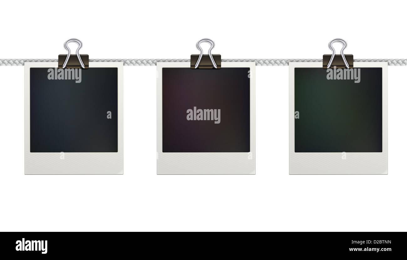 drei leere retro Polaroid Bilderrahmen auf weißem Hintergrund ...