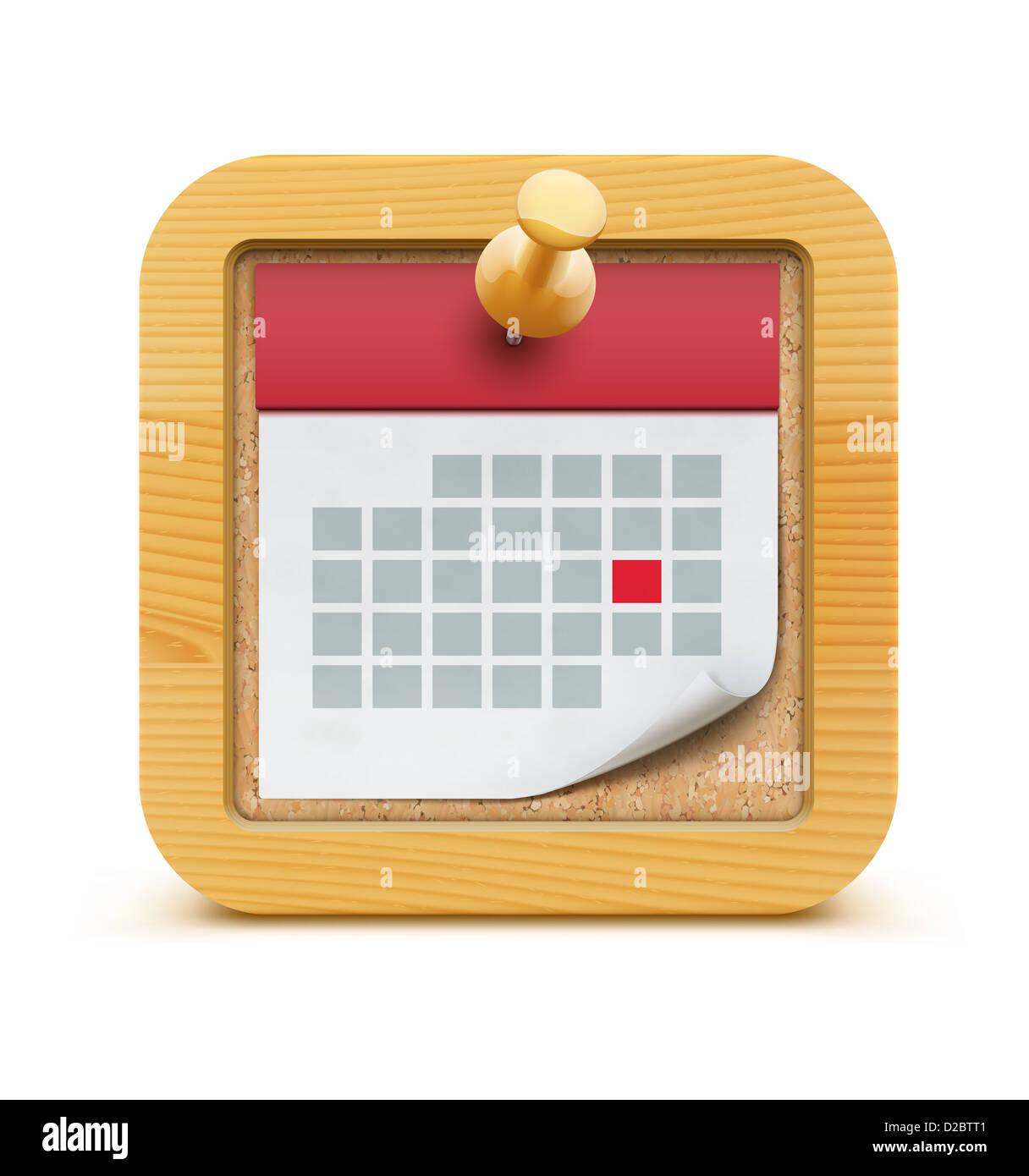 detaillierte schönen Kalender-Symbol in der Kork-Pinnwand mit ...