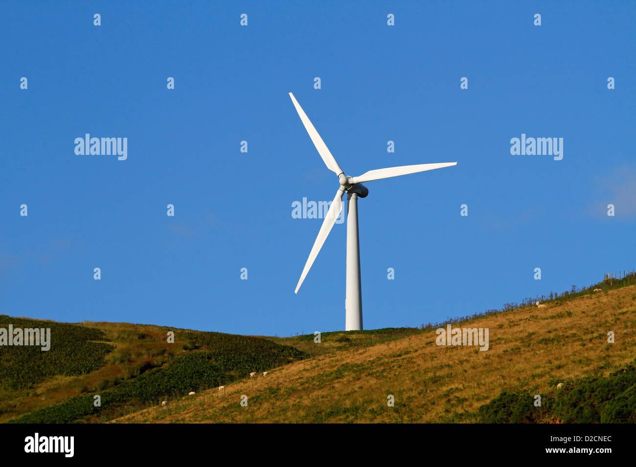 Eine Windkraftanlage, die Bestandteil der Bryn Titli Windfarm in Powys, Mitte Wales ist Stockbild