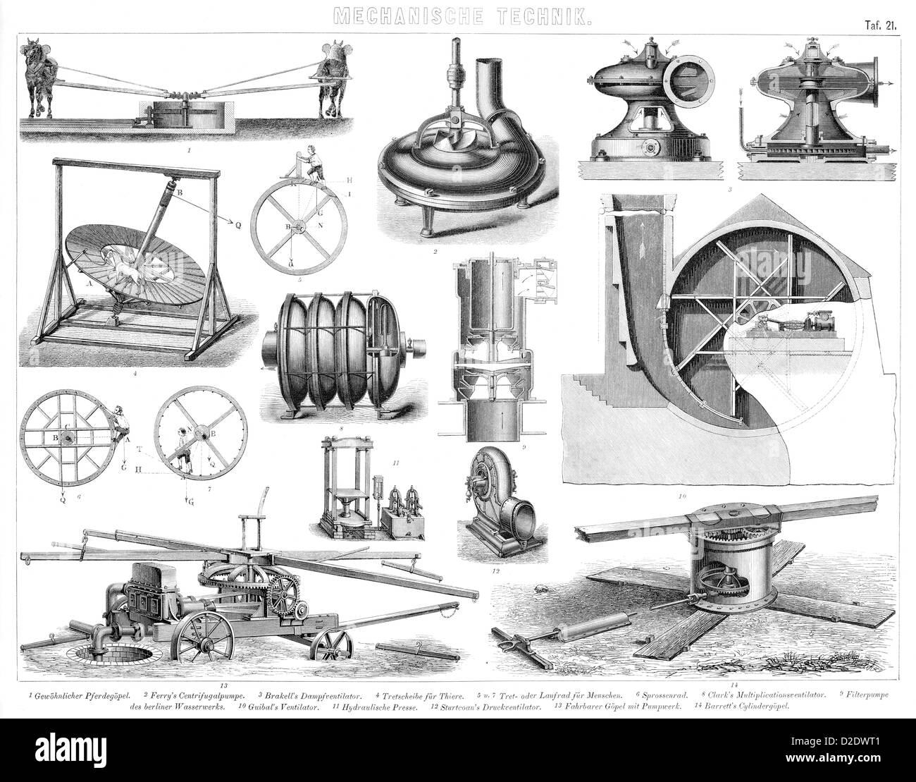 Vintage Dampfantrieb Propellermaschinen aus dem 19. Jahrhundert Stockbild