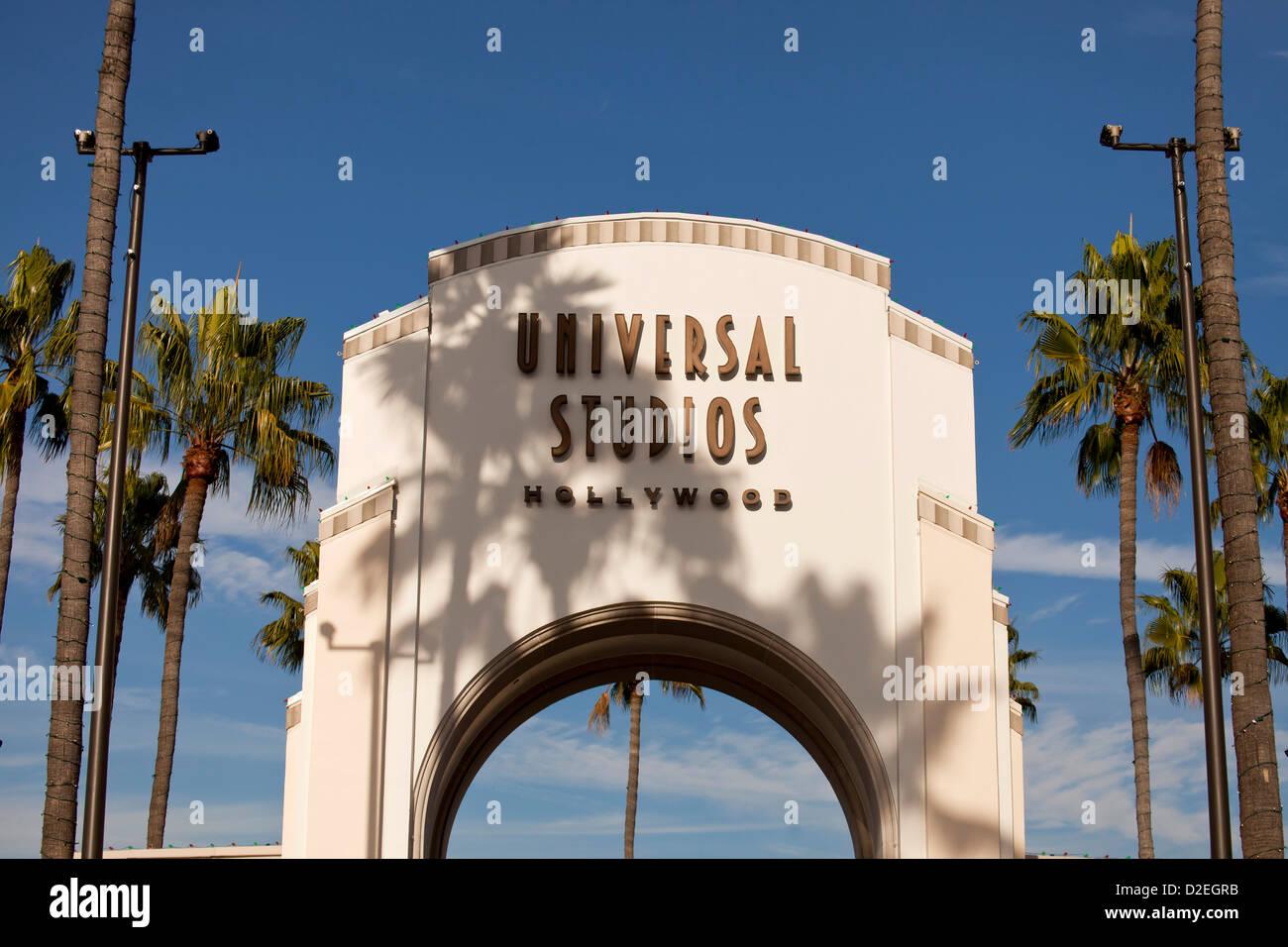 Eingangstor zum Universal Studios Hollywood, Universal City, Los Angeles, California, Vereinigte Staaten von Amerika, Stockbild