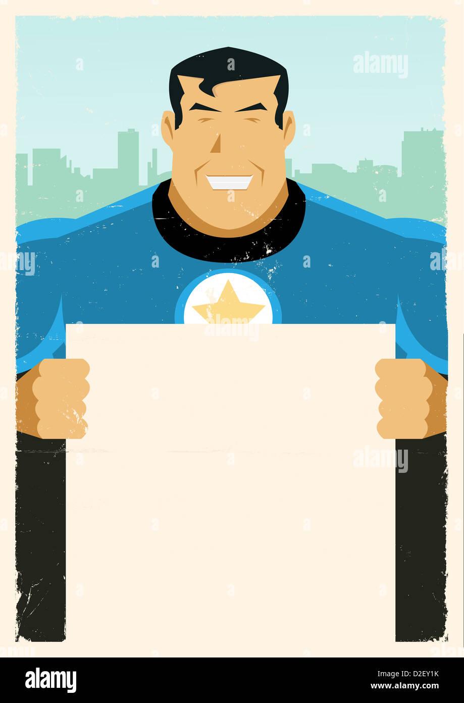 Abbildung eines stilisierten Super-Helden mit Werbung Schild Stockbild