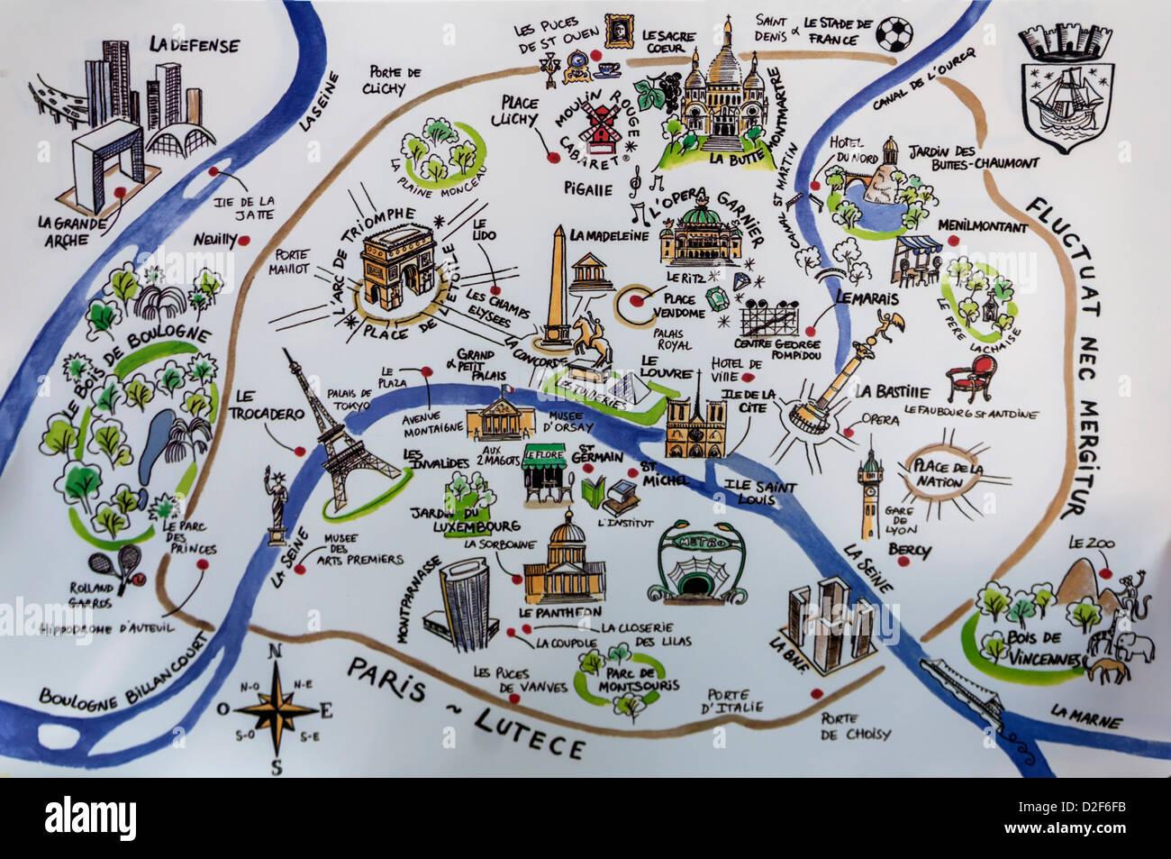 Paris City Map Stockfotos & Paris City Map Bilder - Alamy