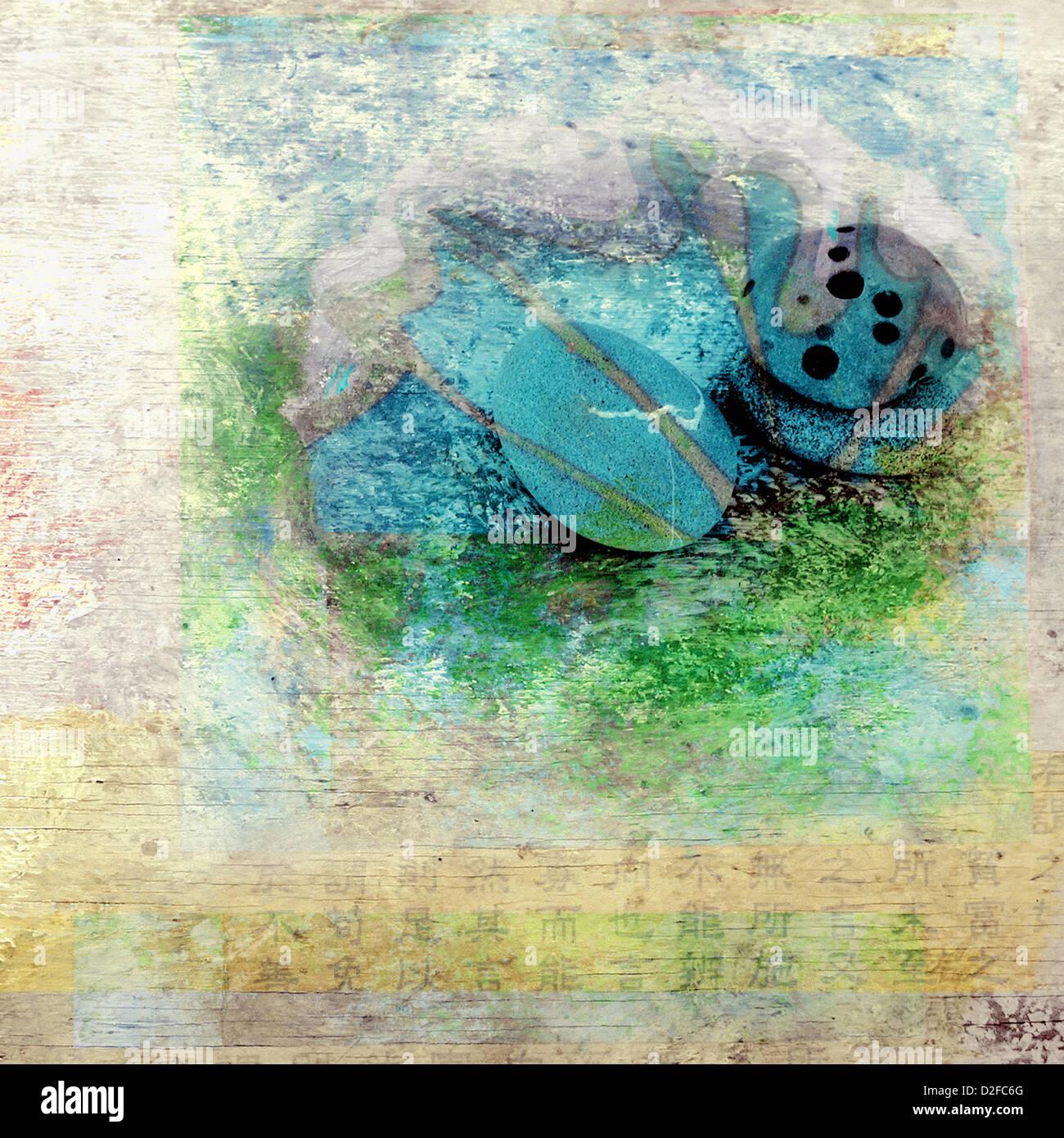 Steinen und Wasser. Foto basierte gemischte mittlere Abbildung. Stockbild