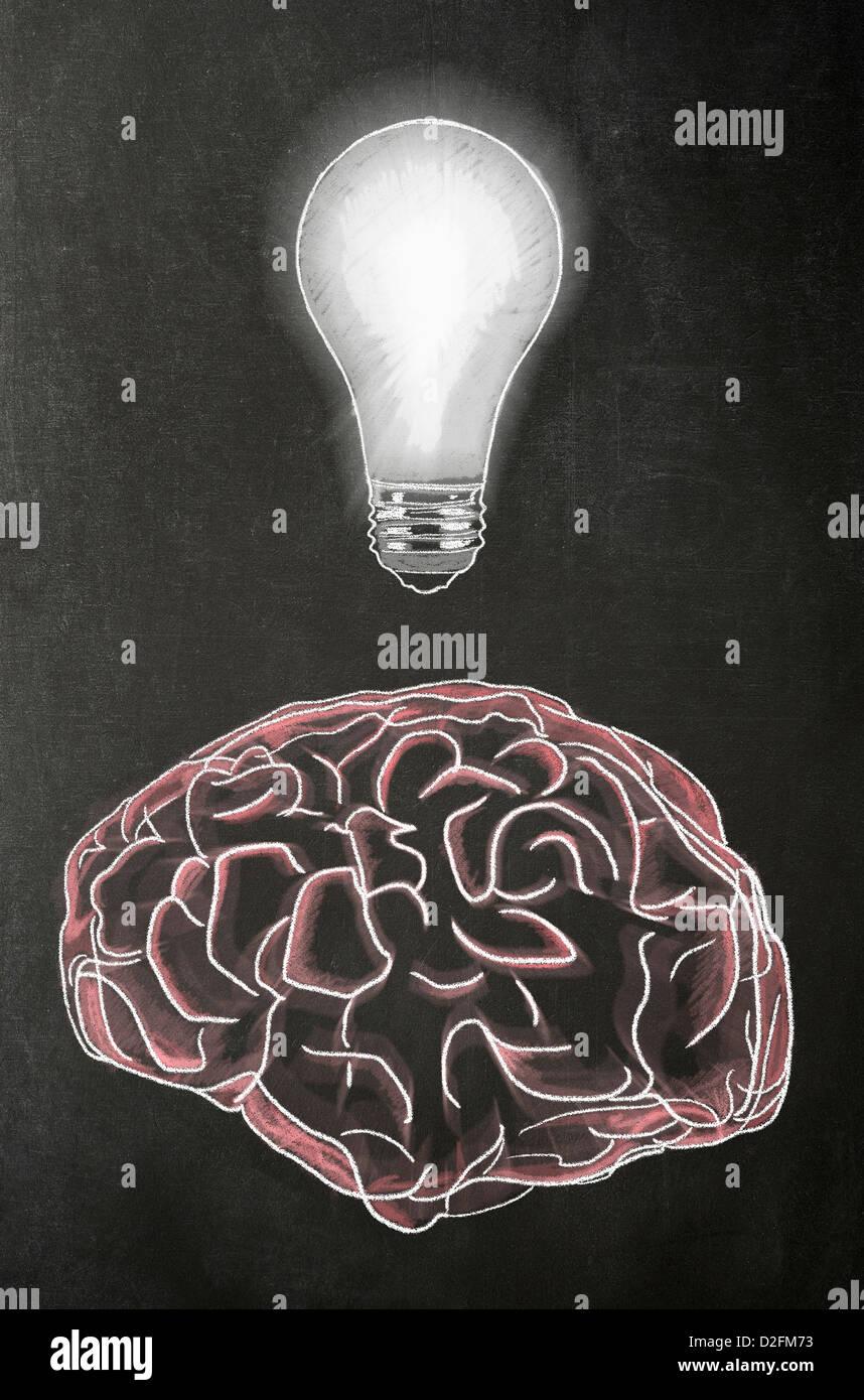 Ideen - Gehirn mit einer Glühbirne darüber auf einer Tafel Stockbild