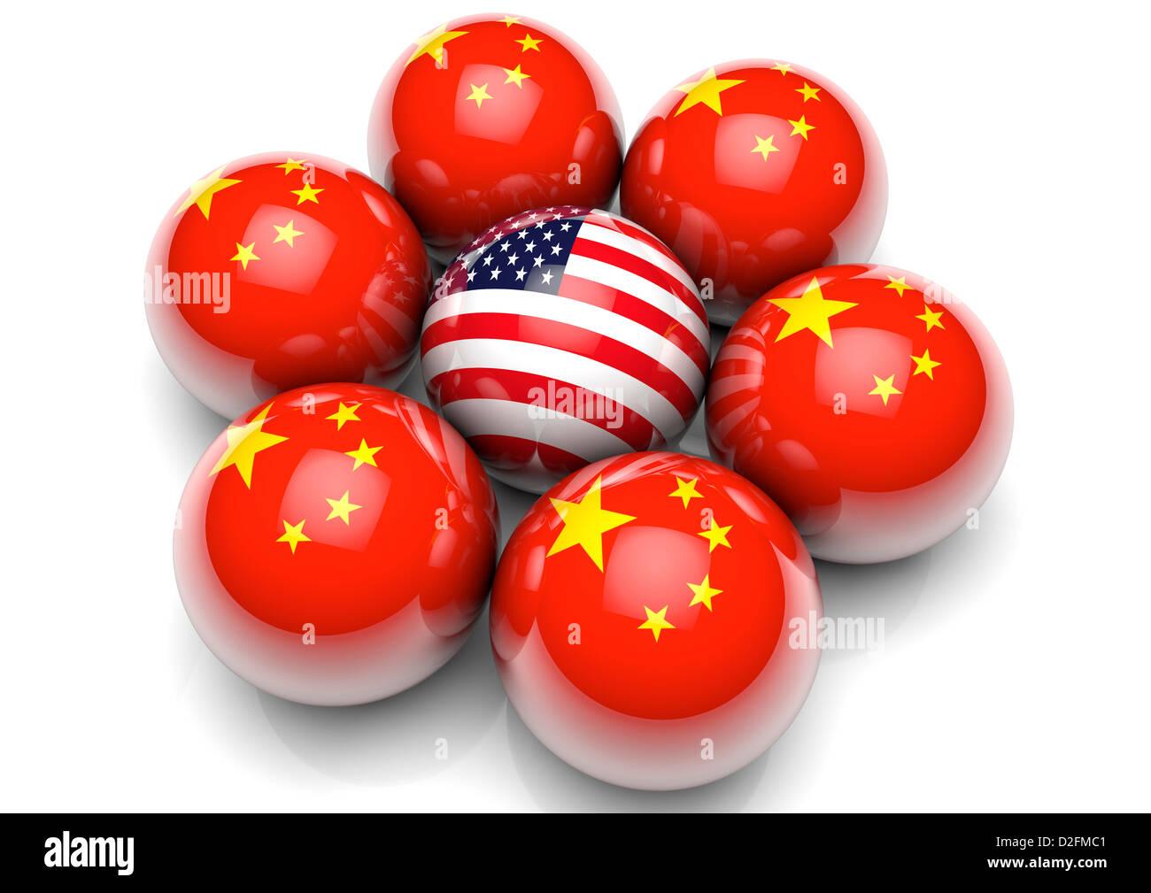 Internationale Beziehungen-Konzept - USA Stars und Stripes Flagge umgeben von Kugeln mit der Flagge von China Stockbild
