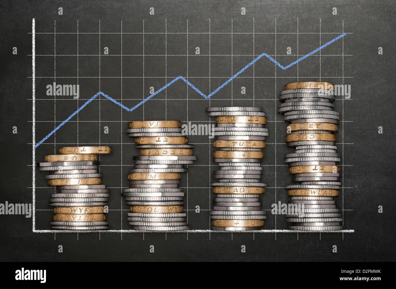 Konzept Finanzen Wachstum - Stapel von Sterling Münzen auf einer Tafel Hintergrund bilden eine aufsteigende Stockbild