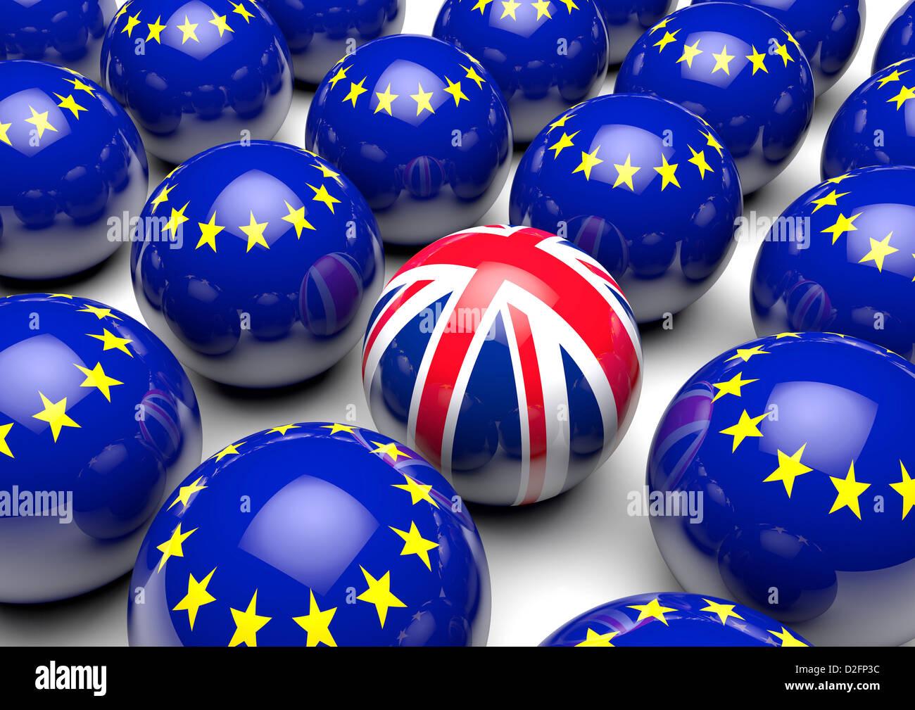 Nahaufnahme von Kugeln mit Flagge der Europäischen Union und eine Kugel mit dem Vereinigten Königreich Stockbild