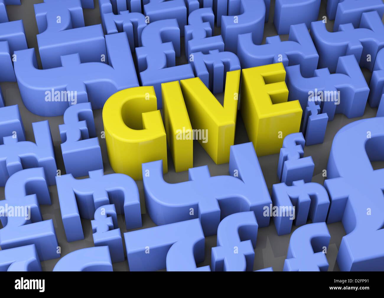 """""""Gib"""" umgeben von britischen Pfund Sterling Symbole - Charity-Konzept Stockbild"""