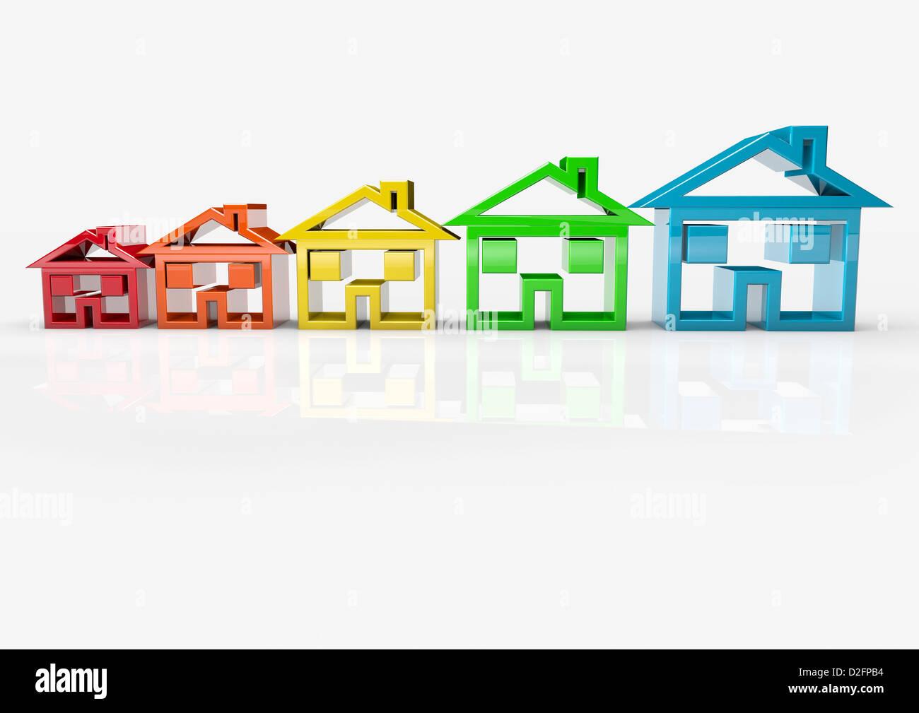 Haus-Symbole, die des Immobilien-Marktes - Wachstum / Umzug / trading-Up / Umzug / Energie-Effizienz-Konzept Stockbild