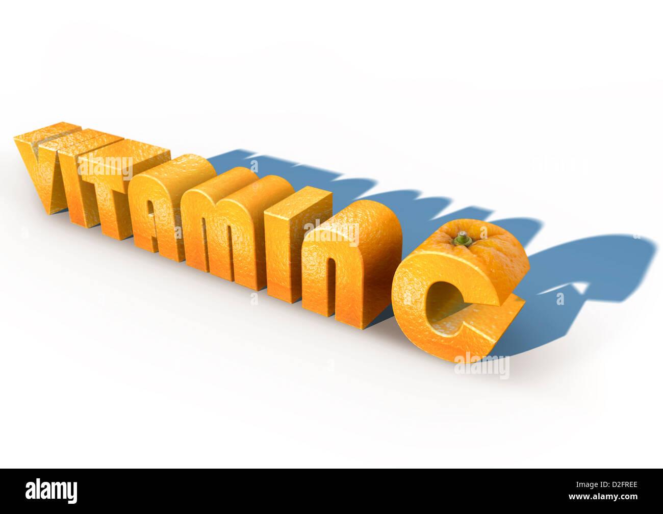 VITAMIN C mit Orangenschale auf weißem Hintergrund texturiert. Konzept-Bild Stockbild