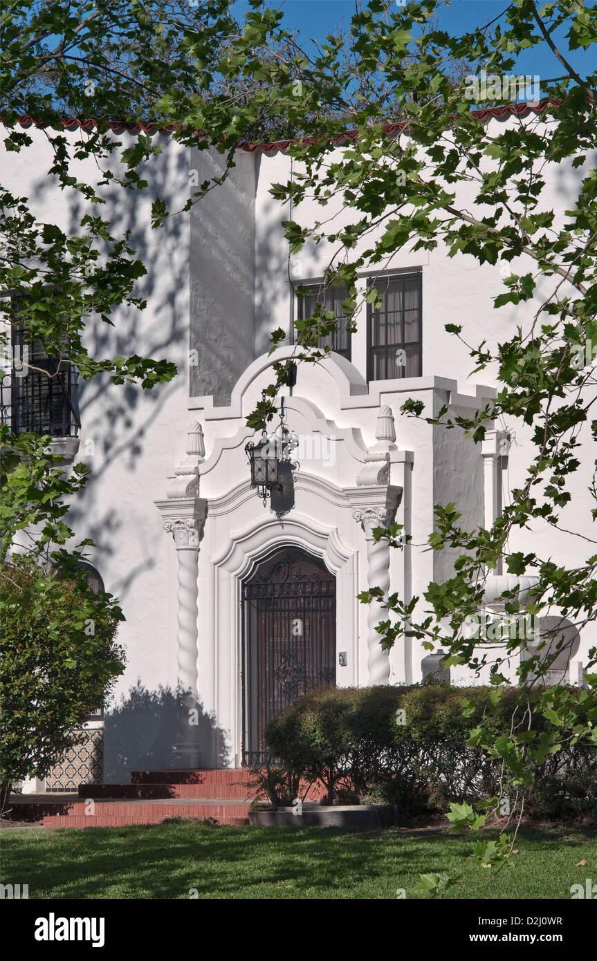 Thomas und Kathryn O'Connor Haus, Spanish Colonial Revival Stil (1927), historische Viertel in der Nähe Stockbild