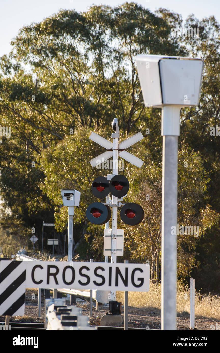 Sicherheitsmaßnahmen an einigen Bahnübergängen in Victoria, Australien Stockbild