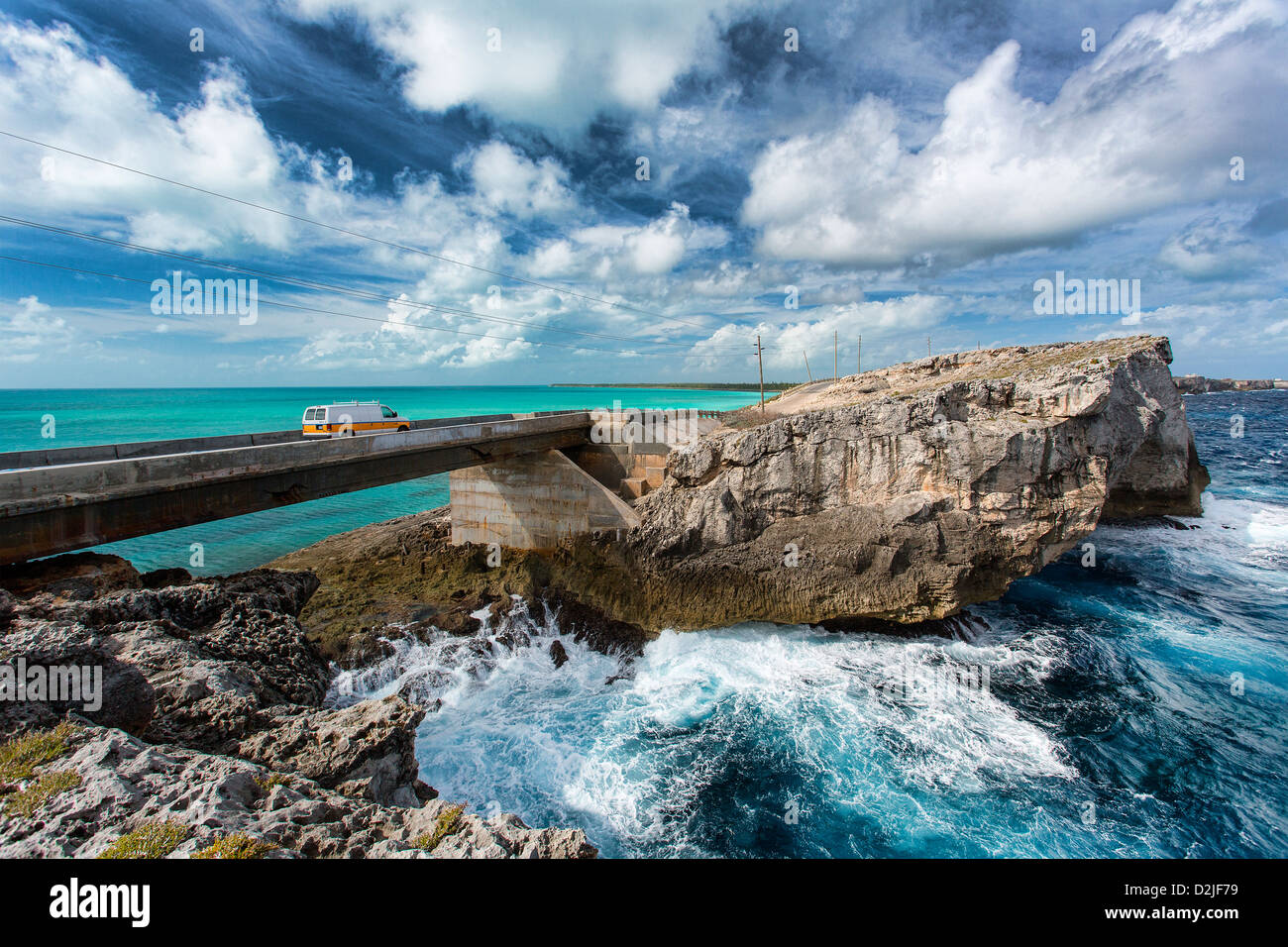 Bahamas, Eleuthera Insel, die Glas-Fenster-Brücke Stockbild