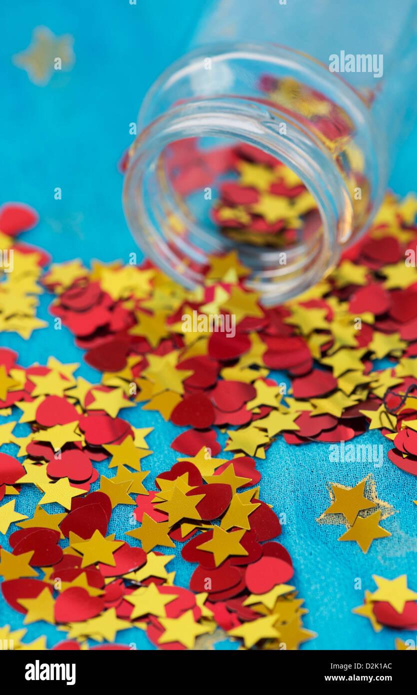 Glänzend Rot Liebe Herzen Und Goldenen Sternen Kommen Aus Einem