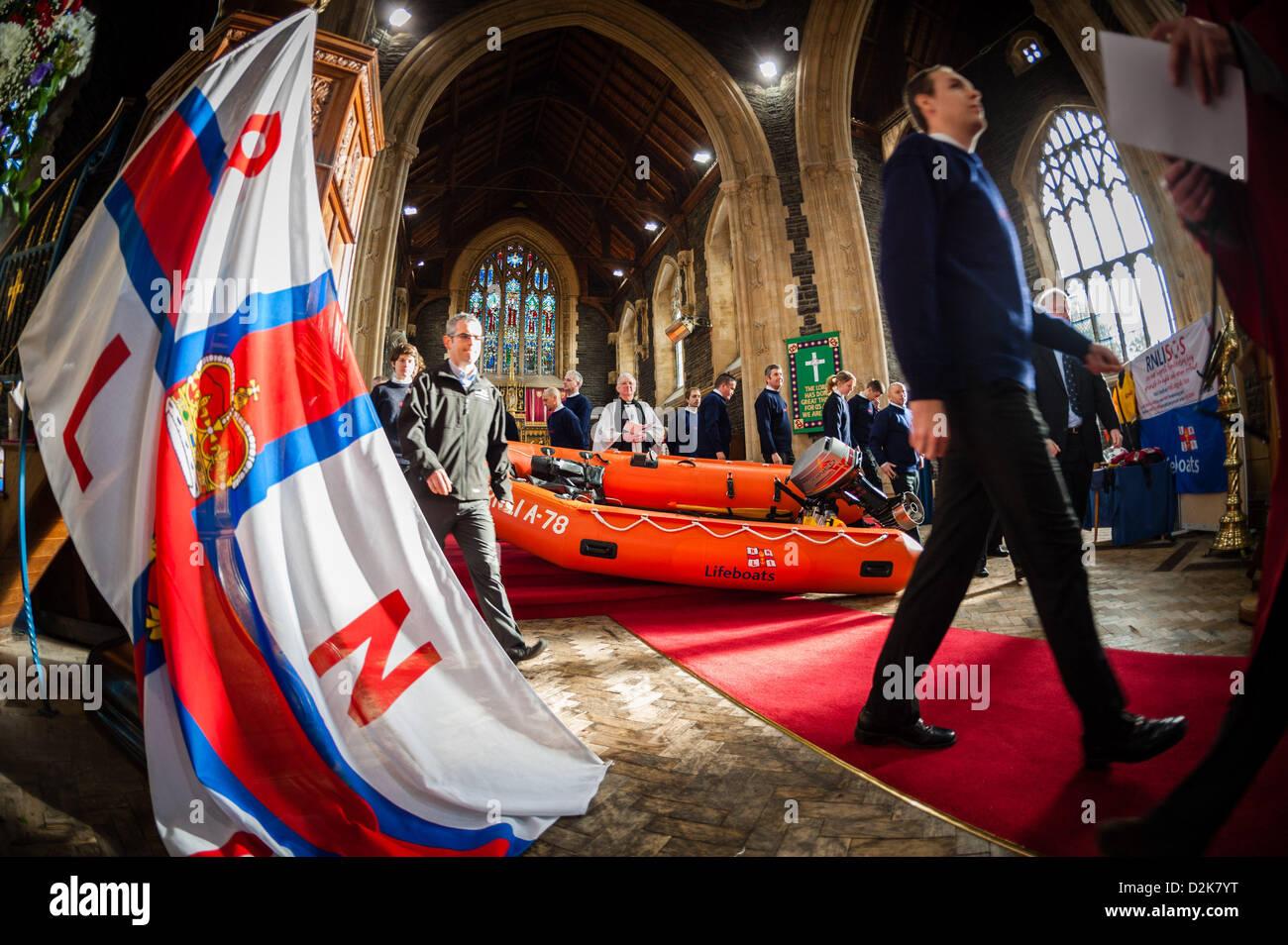 Aberystwyth Wales UK. Sonntag, 27. Januar 2013. Die RNLI (Royal National Lifeboat Institution) Arancia-Klasse inshore Stockbild