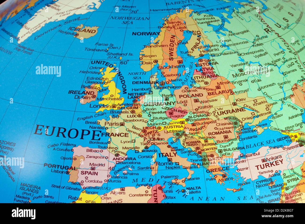 Eine Karte von Europa Kontinent zeigen die Länder auf einem Globus, 2013 Stockbild