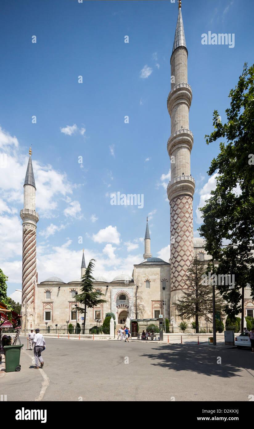 außen, Üç Sherefeli (drei Balkon) Moschee, Edirne, Türkei Stockbild
