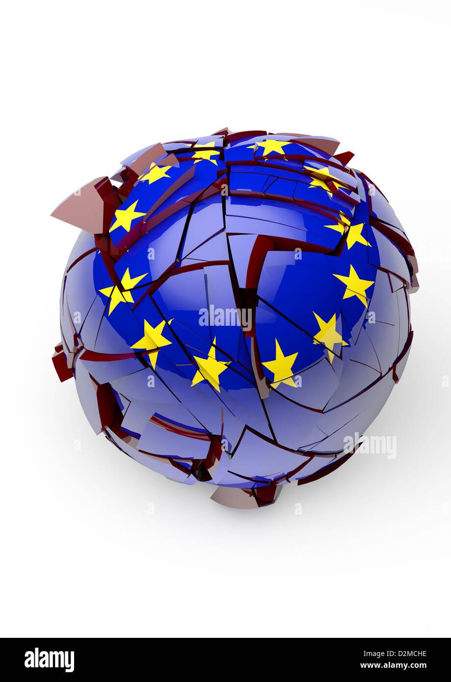 EU Auseinanderbrechen Konzept - weißer Hintergrund Stockbild