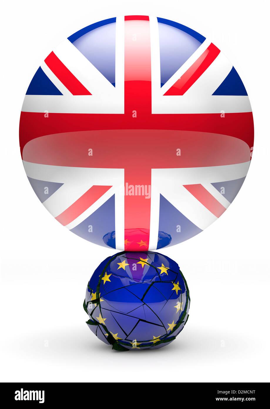 EU-Referendum-Konzept - Kugel Anschluß-Markierungsfahne vernichtende kleinere europäische Flagge Kugel Stockbild
