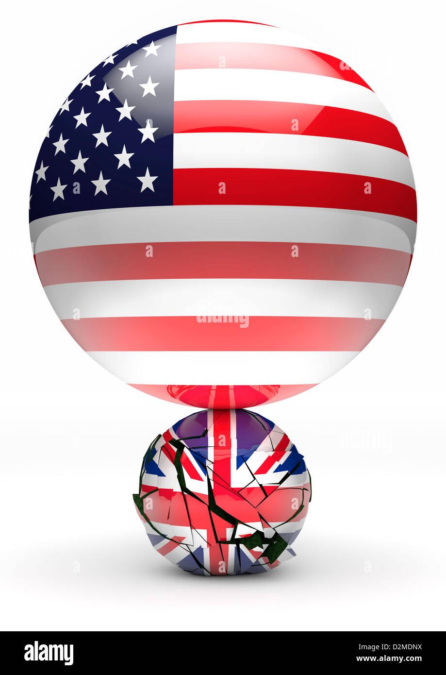 Große amerikanische Flagge Kugel vernichtende kleinere britische Union Flag Kugel - Power Balance / Beziehung Stockbild