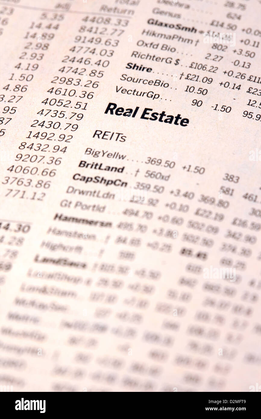 Real Estate Aktien und Aktien Werte in der Financial Times Zeitung, UK Stockbild