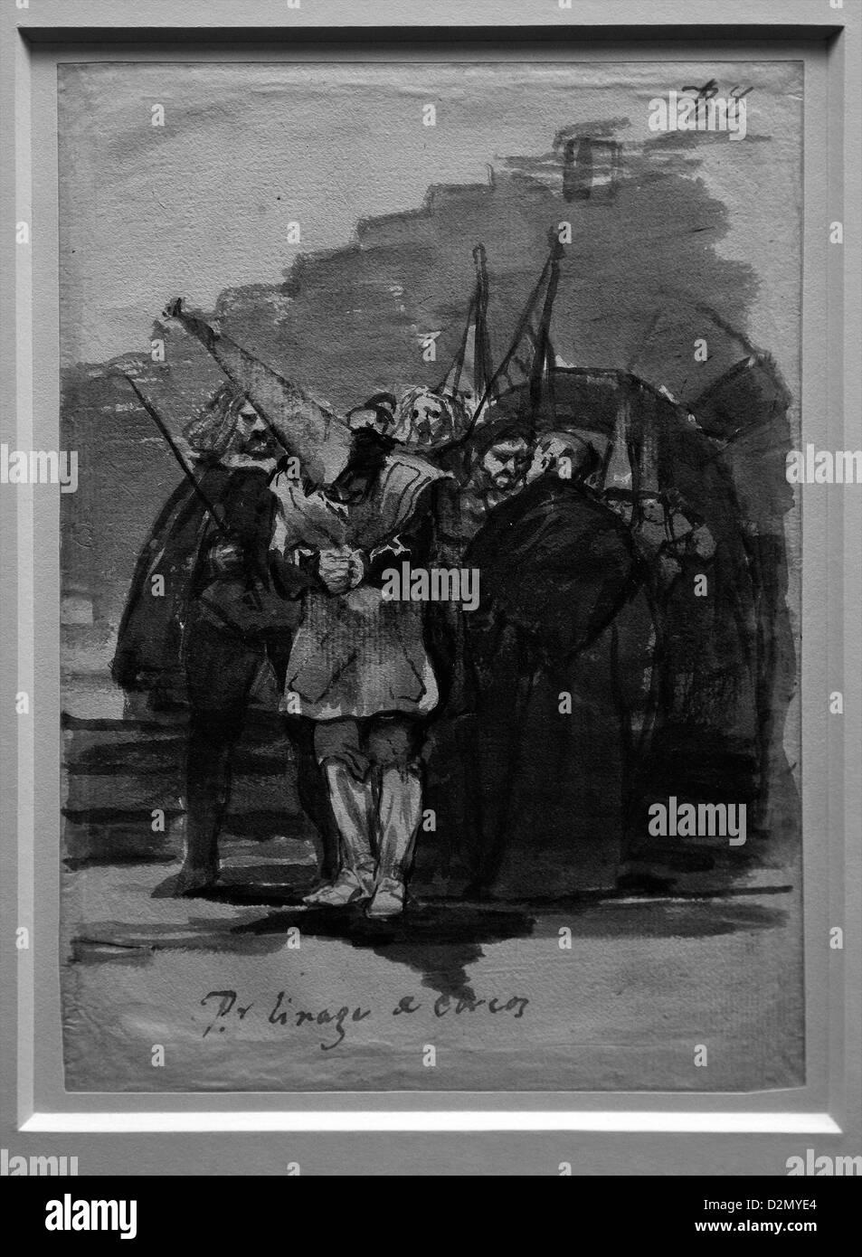 Für dass jüdischer Abstammung, von Francisco de Goya, Inquisition Album ca. 1808-14, British Museum, London, Stockbild