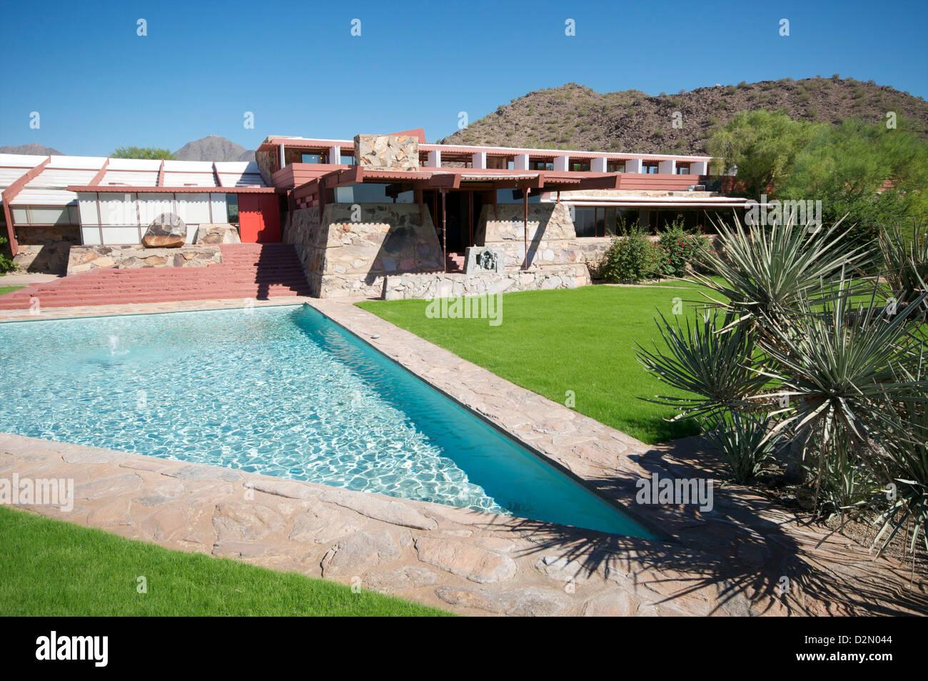 Taliesin West, persönliche Haus von Frank Lloyd Wright, in der Nähe von Phoenix, Arizona, Vereinigte Staaten Stockbild