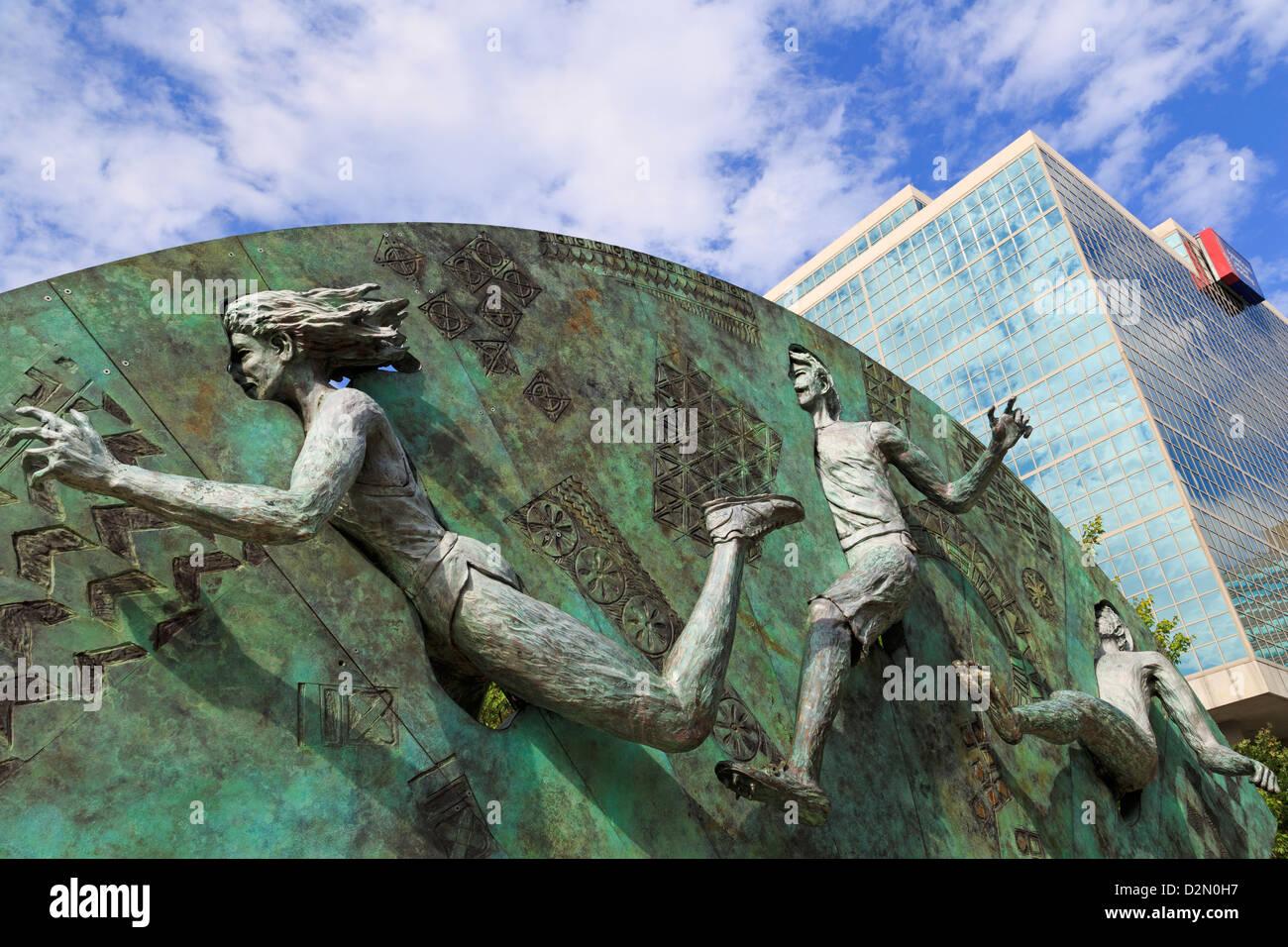 Tribut-Skulptur von P. Greer, Centennial Olympic Park, Atlanta, Georgia, Vereinigte Staaten von Amerika, Nordamerika Stockbild