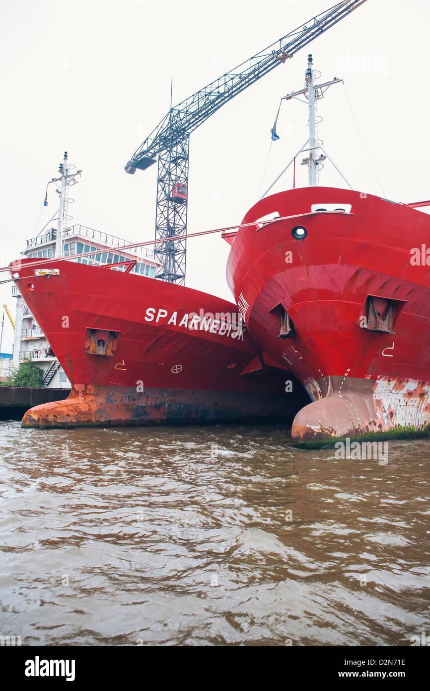 Container-Schiffe auf dem Fluss Mas, Rotterdam, Niederlande (Holland), Europa Stockbild