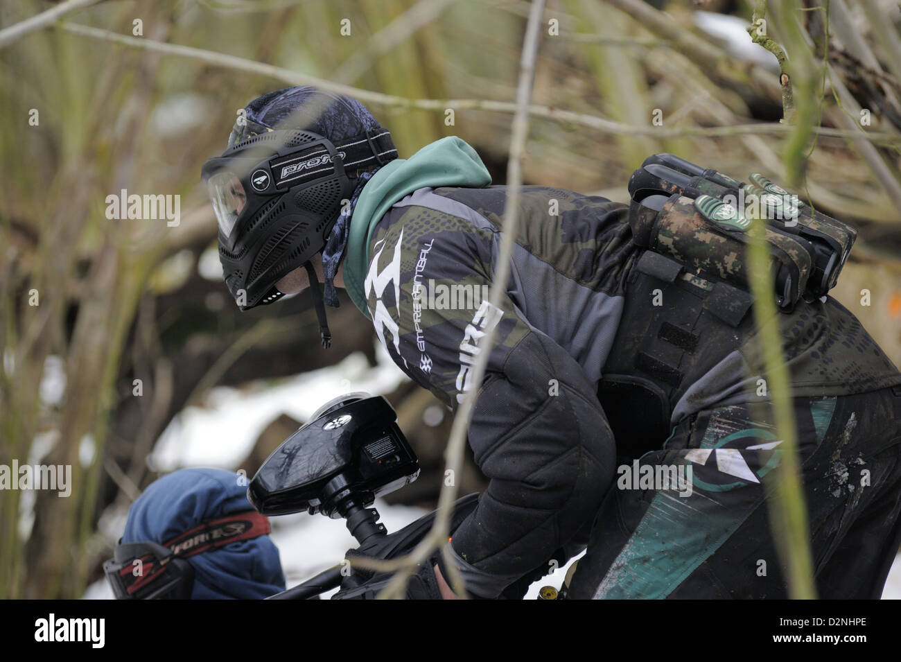 Paintball-Player winter Stockfoto