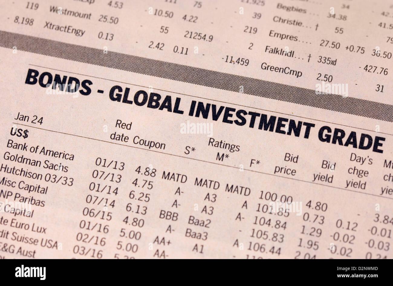Anleihen - Global Investment Handel - Finanzen-Werte in der Financial Times Zeitung, UK Stockbild