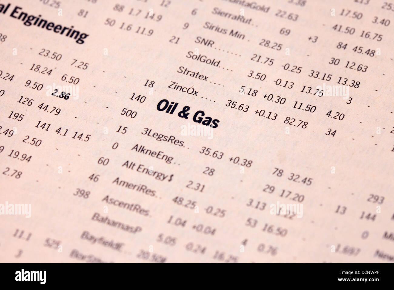 Öl und Gas Aktien Preise in der Financial Times Zeitung, UK Stockbild