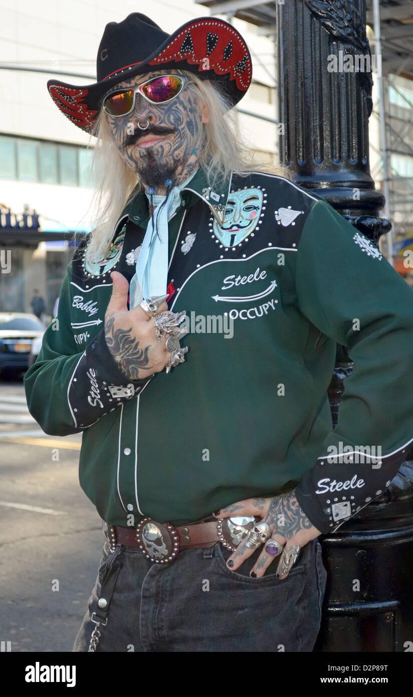 Porträt von Rebel Bobby Steele eine Occupy Wall Street Demonstranten war ein Wall-Street-Händler seit Stockbild