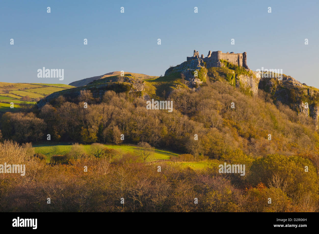 Position Cennen Castle, Brecon Beacons National Park, Wales, Vereinigtes Königreich, Europa Stockbild