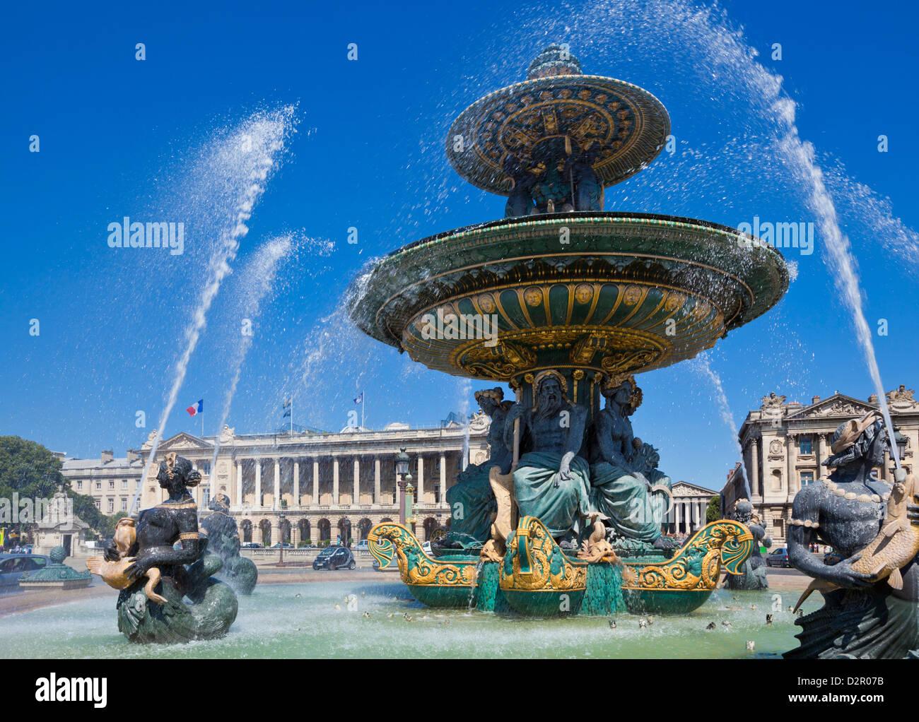 Brunnen auf der Place De La Concorde, Paris, Frankreich, Europa Stockbild
