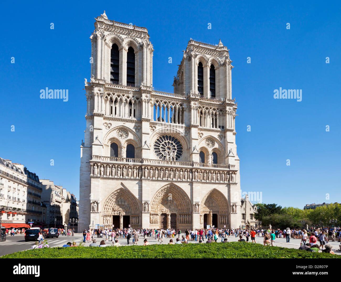Fassade der Kathedrale von Notre Dame, Ile De La Cite, Paris, Frankreich, Europa Stockbild