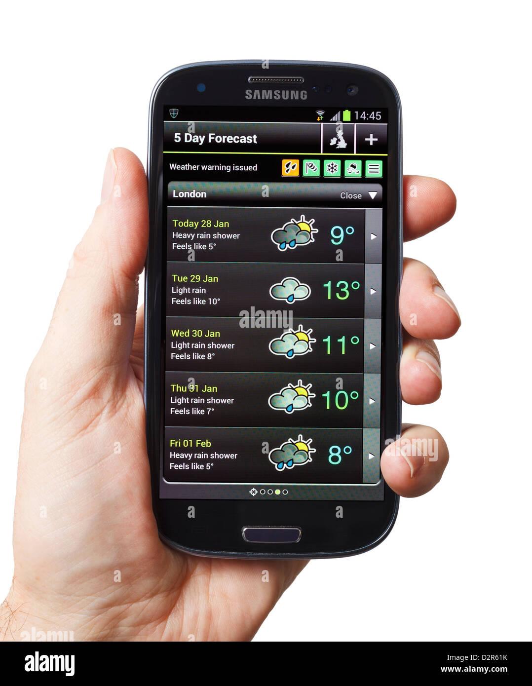Wetter App auf einem Smartphone Handy smart phone Stockbild