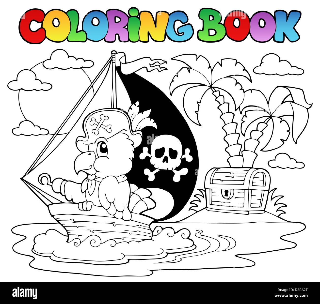 Malvorlagen Piraten Papagei Buchthema 2 - Bild-Darstellung Stockfoto ...
