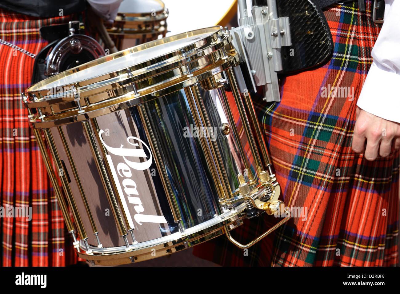 Ein Drummer aus der Strathclyde Police Pipe Band bei Piping Live Event, Glasgow, Schottland, UK Stockbild