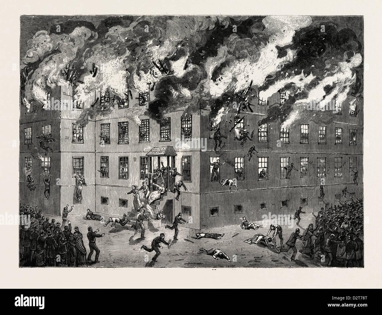MINNESOTA: Tödliche Brennen von THE INSANE Asyl in ST. PETER, uns, Gravur 1880 1881 Stockbild
