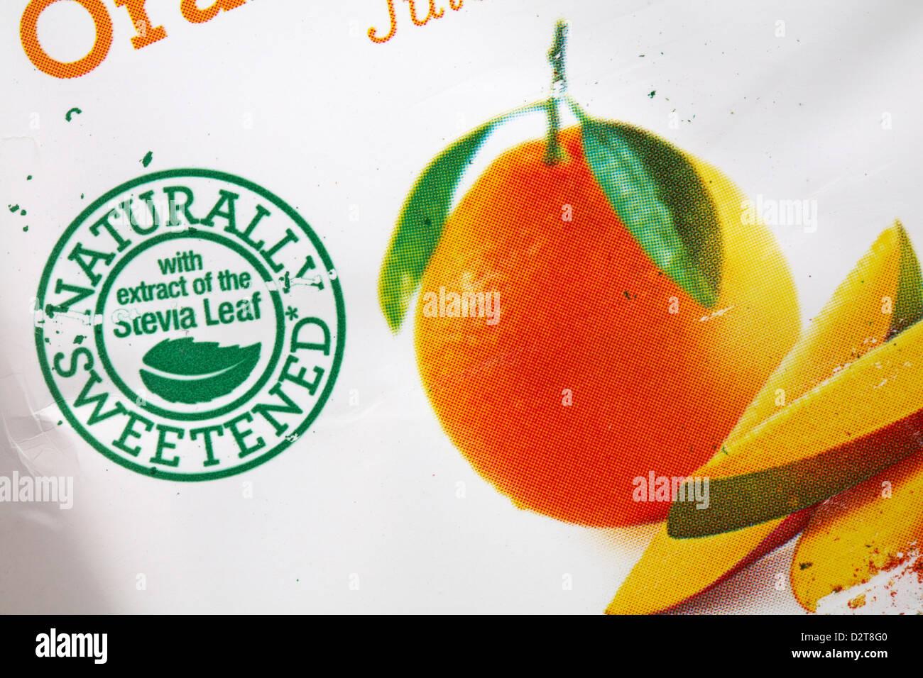 Natürlich gesüßt mit Extrakt aus der Stevia-Blatt - Informationen über Tropicana Trop50 Orange Stockbild