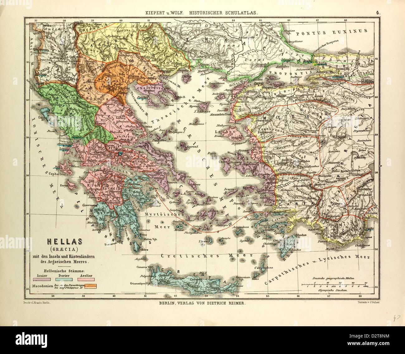 Griechenland Karte Kreta.Alte Karte Von Griechenland Und Kreta Stockfoto Bild